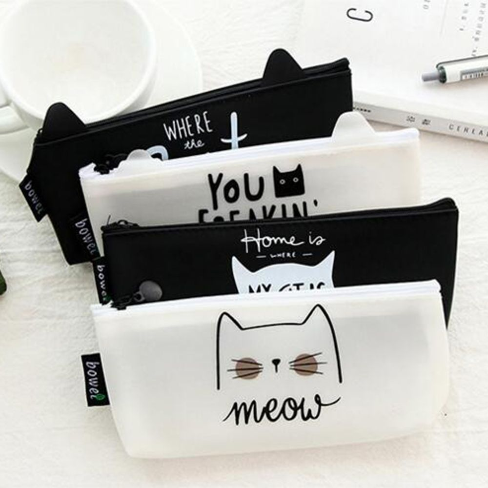 1 Hot Pieces Kawaii Cute Cat Pen Pencil Bag Silicon School Stationary Receive Tools Makeup Pouch Cosmetics Case School Suppplies