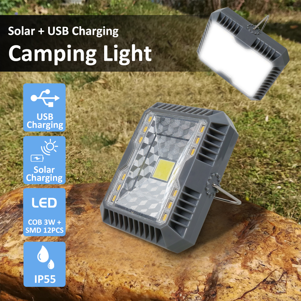 Portable Lantern Camping Light USB+Solar Charging Flashlight Camping Tent Light Outdoor Portable Hanging Lamp Solar Led Lantern