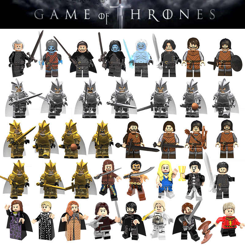 Game of Thrones Movie Figures Jon Snow Ice Knight Arya Stark Petyr Baelish Wights Jeor Mormont Building Blocks Bricks Kids Toys