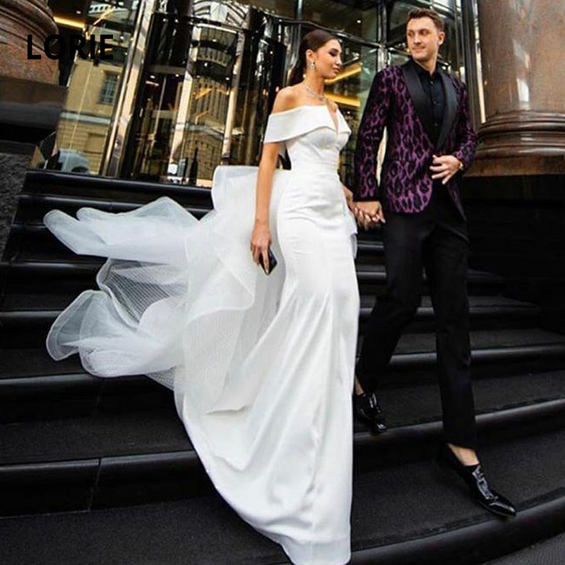 LORIE Off The Shoulder Satin Wedding Dresses Mermaid 2020 Elegant Bride Gowns With Detachable Train Sexy Backless Wedding Gown