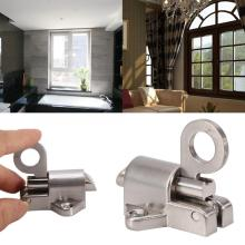 Sliding Bolt Aluminum Latch Lock for Window Gate Security Pull Ring Spring Bounce Door Bolt bqlzr zinc window cabinet pull ring spring load automatic door bolt latch lock silver