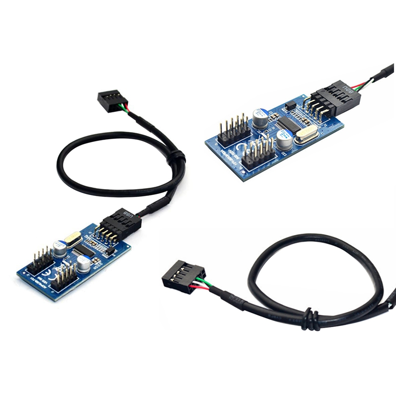 9Pin USB Header Male 1 to 2/4 Female Extension Cable Card Desktop 9Pin USB HUB USB 2.0 9 Pin Connector Adapter