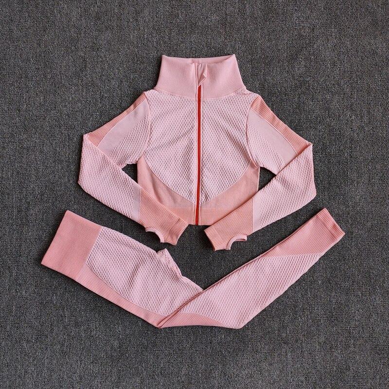 ShirtsPantsOrange - Women Seamless Fitness Yoga Suit Color-blocked Sportwear