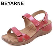 BEYARNENew קיץ סנדלי נשים החלקה, תפירת חוט סנדלי, מזדמנים נעלי אצבע לנשים, פלטפורמת חוף shoesL017