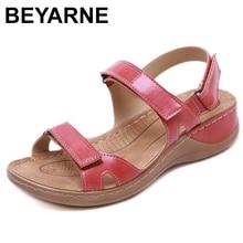 Beyarnenew sandálias de verão para mulher antiderrapante, sandálias de linha de costura, sapatos casuais de dedo aberto para senhoras, plataforma praia shoesl017