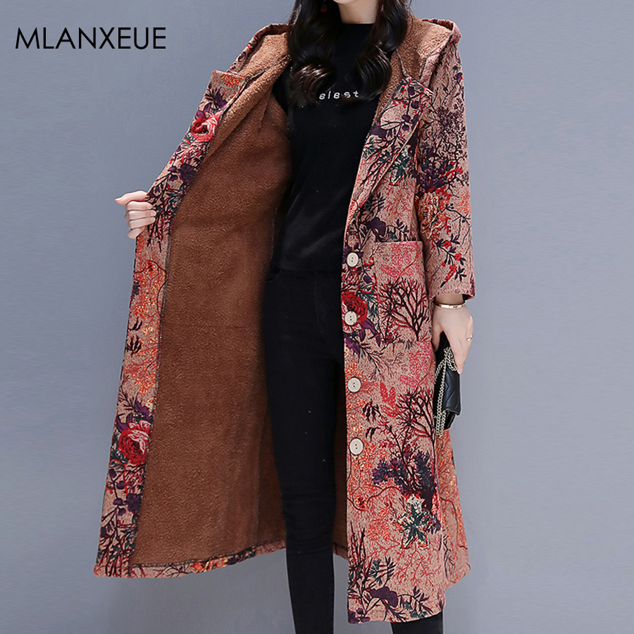 Print Hooded Winter Long   Down     Coats   Women Plus Size Casual Hardy Warm   Coat   Jackets Female Loose Cotton Thicken Slim Outerwears