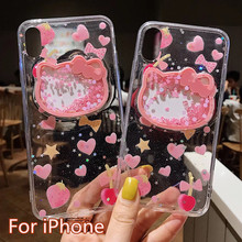 Lovely Hello kitty glitter sequins TPU case For iPh