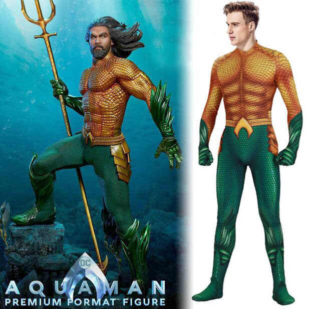 Aquaman Cosplay Costume Flesh Gold Siamese Tights  Halloween Costumes for Adult  Unisex Jumpsuits