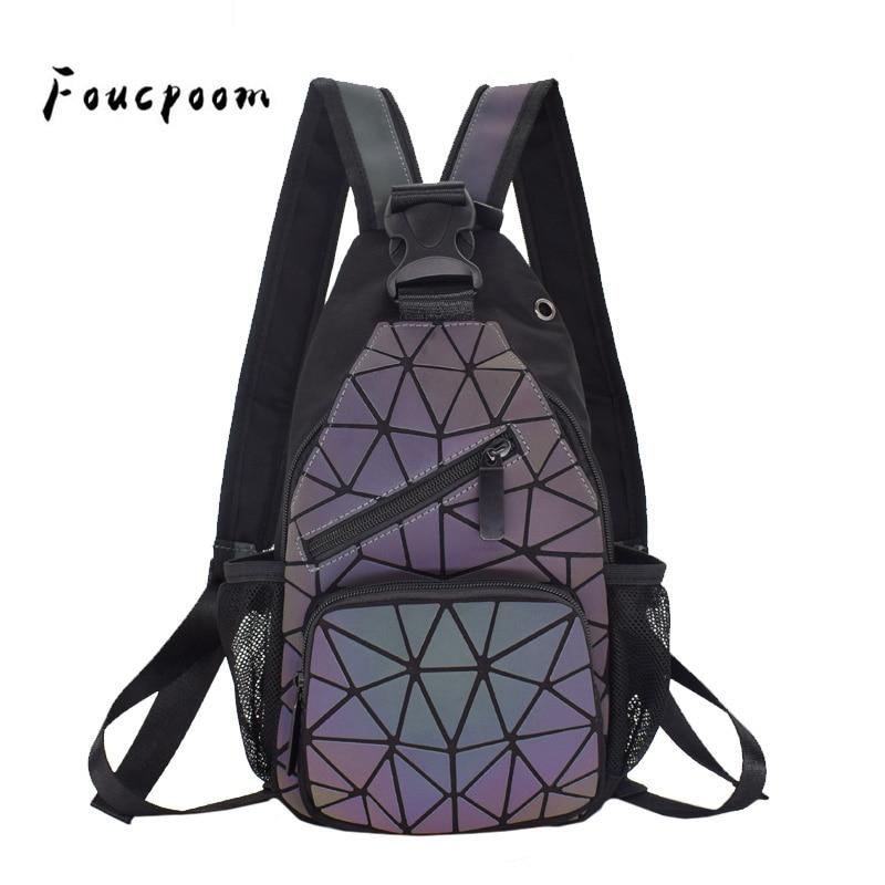 2019 Men Multifunctional Backpack Women Geometric Backpack With Headphone Hole School Bag Unisex Luminous Crossbody Shoulder Bag