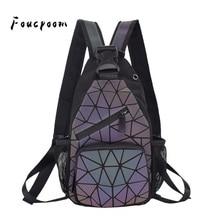 2021 erkekler çok fonksiyonlu sırt çantası kadın geometrik sırt çantası ile kulaklık delik okul çantası Unisex aydınlık Crossbody omuzdan askili çanta