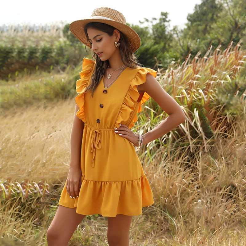 2020 Boho żółta letnia plisowana sukienka kobiety Sexy Casual potargane V Neck bez rękawów linia pas Mini sukienka plaża wakacje Sundress
