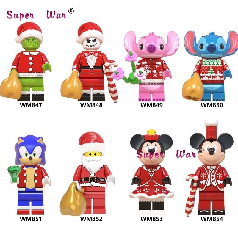 Single Santa Christmas Angel Stitch Claus Minnie Mickey Sonic Anime Building Blocks Model Bricks Toys For Children