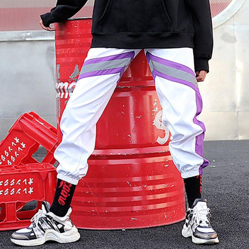 Image 4 - 2019 Hip Hip Men Jogger Pant 3M Reflective Harajuku Baggy  Sweatpant Streetwear Track Pants Sweat Trousers Summer Thin Harem Pant