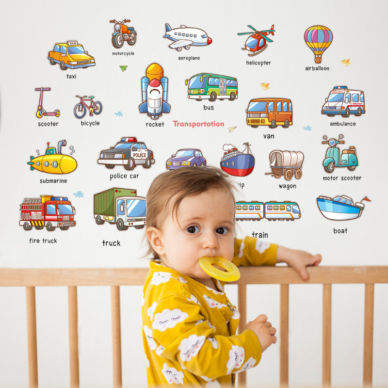 Cartoon Cars Home Decor for Kids Rooms English Name Transportation Wall Stickers PVC Vinyl Art Design Wall Decals Wallpapers|Wall Stickers| |  - title=