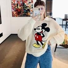 Korean Autumn New Lapel Long-sleeved Hollow Mickey Cartoon Sweater Shirts Shirt Female 2019 Fashion Tops Sweaters Casual