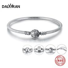 DALARAN otantik 925 ayar gümüş orijinal yılan zincir temel bileklik bilezik kadınlar için Fit DIY takılar boncuk 17 20cm