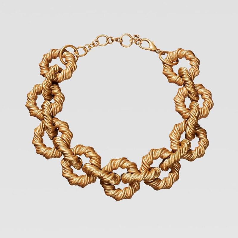 Dvacaman ZA, золотое ожерелье на цепочке, Чокеры для женщин, металлическое круглое звено, массивное ожерелье, s макси панк, модные вечерние ювелирные изделия - Окраска металла: 4