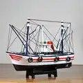 Estilo mediterráneo hogar Decoración de bote modelo de madera maciza habitación de los niños equipado con suave vela barco de pesca
