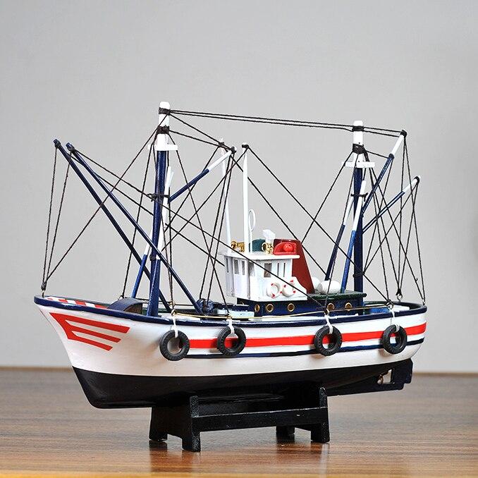 Style méditerranéen décoration de la maison bateau modèle en bois massif chambre d'enfants meublé avec voile lisse bateau de pêche bateau artisanal