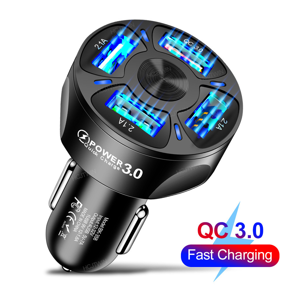 3A QC3.0 4USB Car Charger Fast Charge Car Charger One for Four Vehicle-Mounted Mobile Phone Charger Cross-Border Wholesale 5