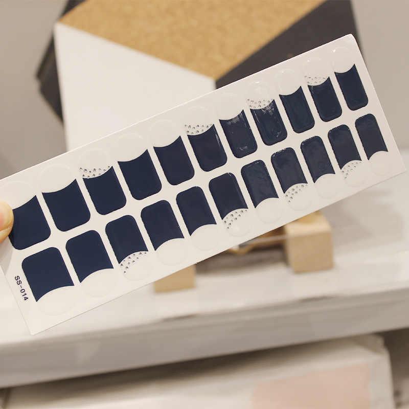 22 punte/foglio di Unghie artistiche Della Copertura Completa Auto Adesivo Adesivi Polacco Stagnola di Trasferimento tips Avvolge 3D Impermeabile Adesivi Per Unghie Manicure