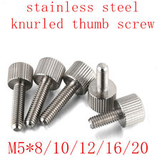 Longitud : 16 mm, Tama/ño : M5 ropa de cama Ping.Feng 2 pcs M5 8//10//12//16//20 Stainless Steel Small Head knurled Flat Head Thumb Screw for Computer Screws