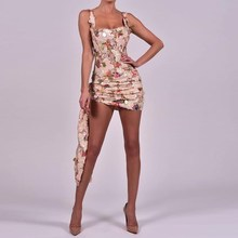 Sexy Straps Floral Printed Sequins Irregular Bodycon Dress Empire Women Square Neck Sleeveless Mini Dress Slim Club Party Dress sweet square neck sleeveless circle printed dress for women