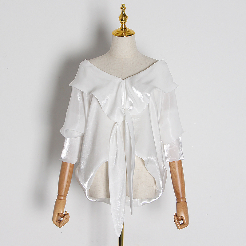 TWOTWINSTYLE Casual Irregular Lace Up Blouses For Female Slash Neck Off Shoulder Long Sleeve Shirts Women 2020 Fashion Clothing