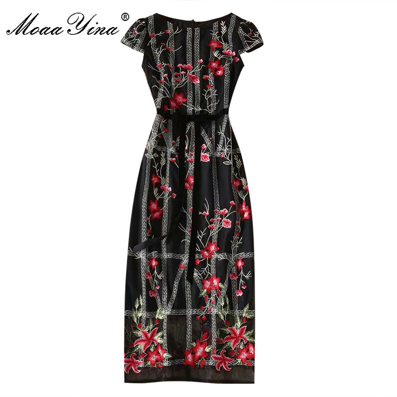 MoaaYina Fashion Designer dress Spring Summer Women's Dress Short sleeve Package buttocks Mesh Embroidery Vintage Dresses