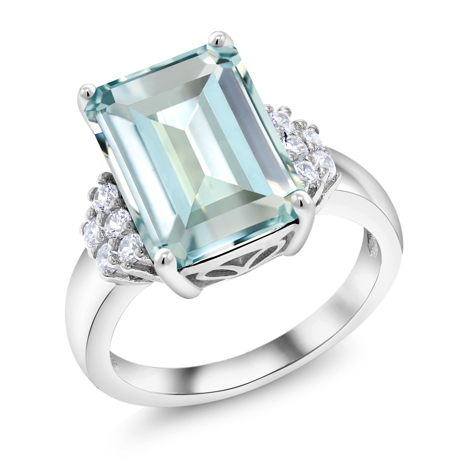 6.94 Ct Emerald Cut Sky Blue Simulated Aquamarine 925 Sterling Silver Ring