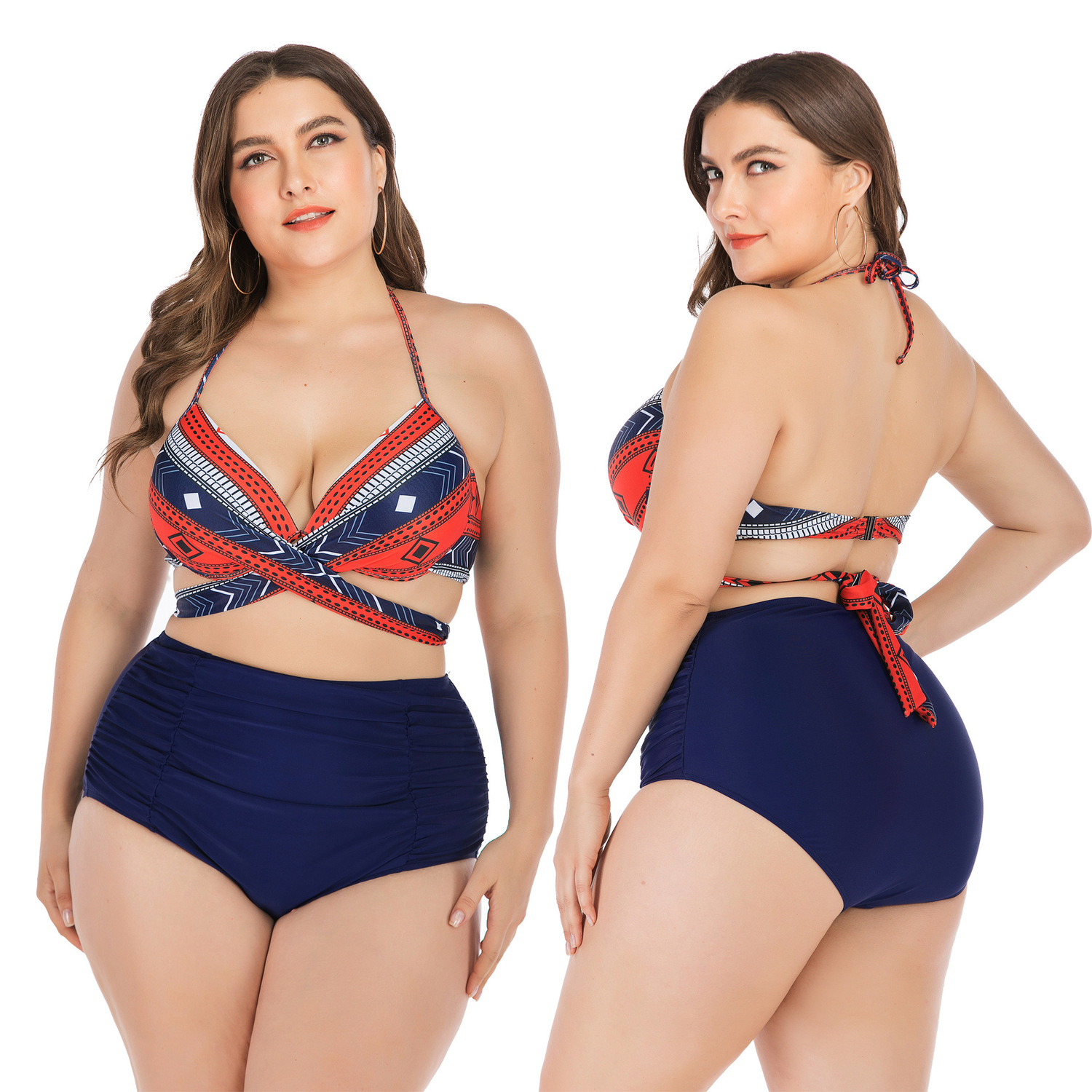 L-4xl Plus Size Sexy Women Bikini High Waist Plus Size Swimsuit Fat Mm Women's Fashion Direct Shipment