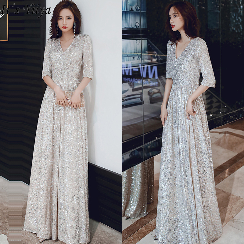 It'Yiiya Evening Dress V-neck Shining Sequins Robe De Soiree L003 Half Sleeve Evening Dresses For Women Elegant Formal Gowns