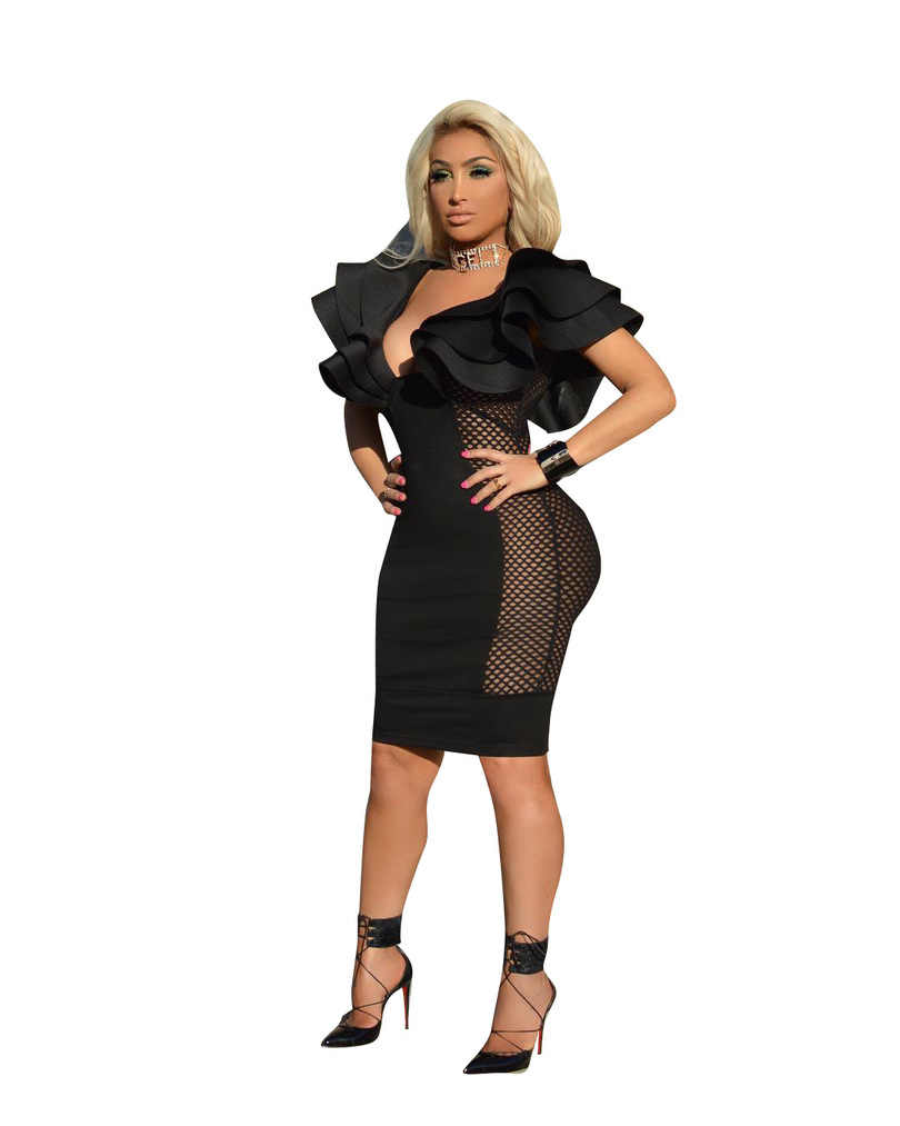 Женское платье Вечерние Клубные платья с глубоким v-образным вырезом Сексуальные облегающие сетчатые Лоскутные прозрачные эластичные облегающие платья Vestido