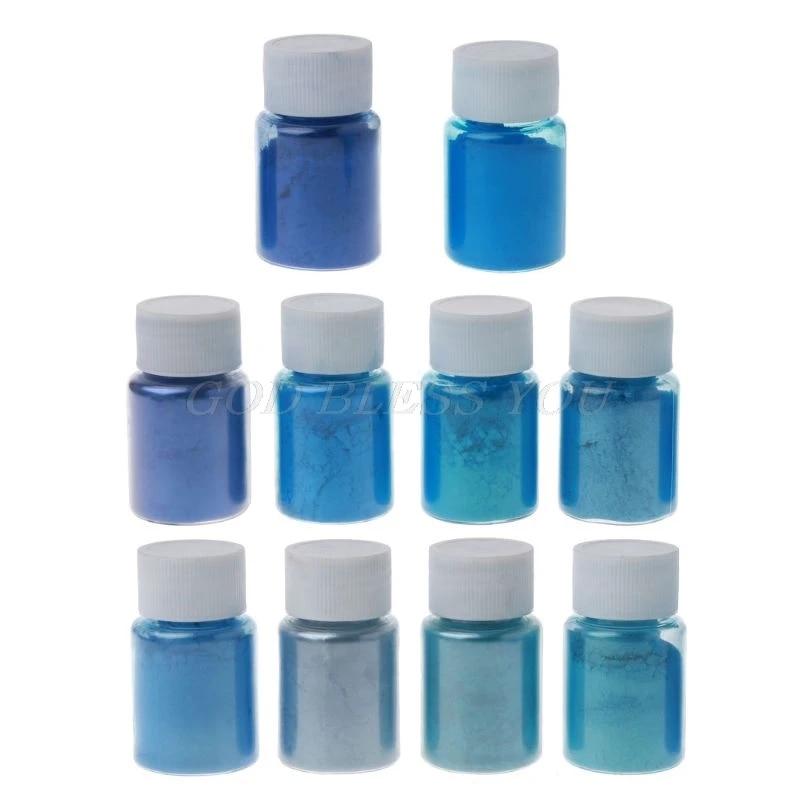 10 Warna Biru Laut Mika Bubuk Mutiara Pigmen Epoxy Resin Pewarna Kosmetik Kelas Membuat Pembuatan Sabun Mutiara Warna Dye Kit Soap Dyes Aliexpress