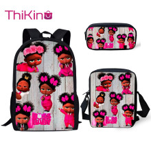 Thikin New School Bags for Kids Girl Boss Baby Pattern 3Pcs Backpacks Girls Book Children Supplies