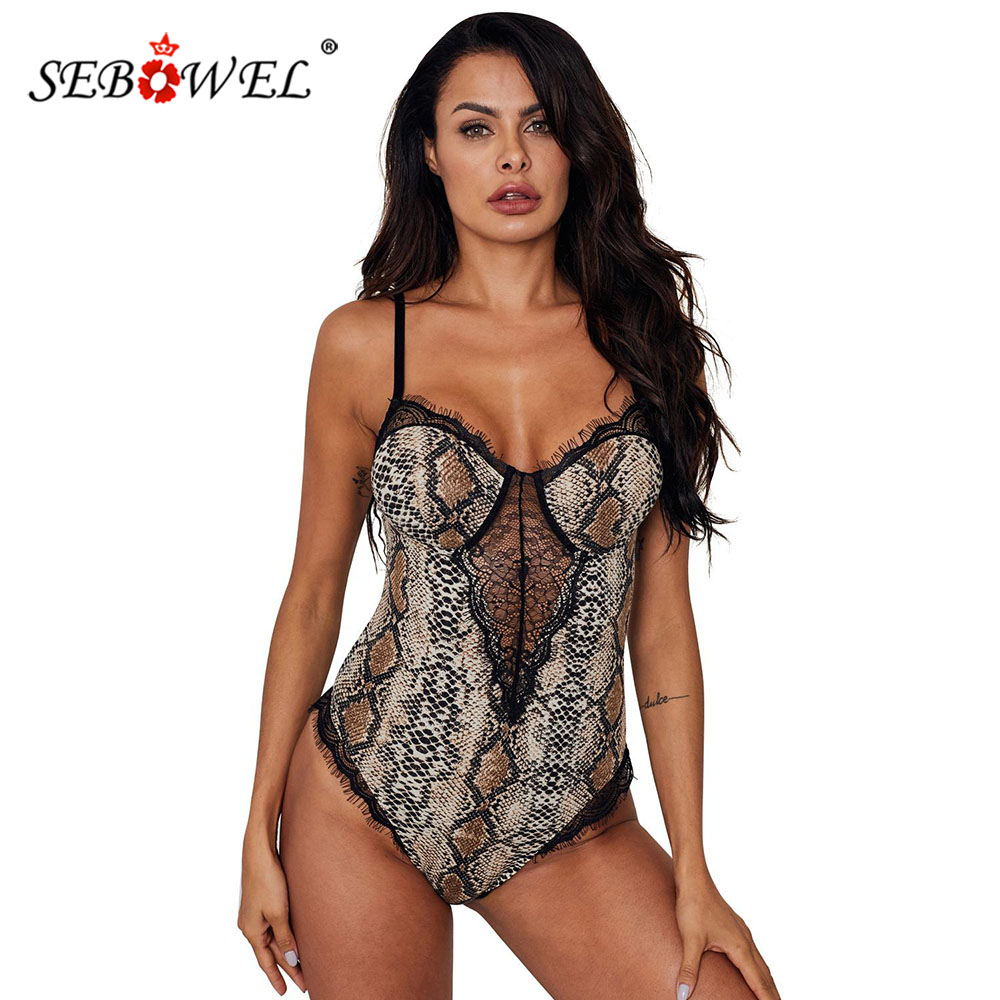 SEBOWEL Sexy Lace Backless Leopard Printed Bodysuits For Woman Spaghetti Strap Female Sleeveless Animal Print Body Tops Clothes