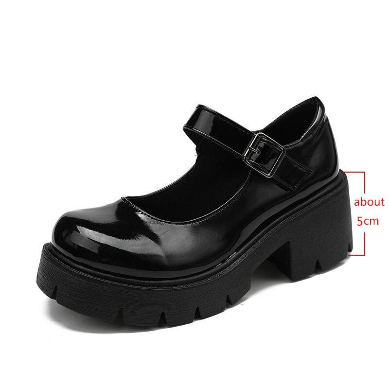 Lolita – chaussures à talons hauts pour femmes, Style japonais, Vintage, doux, pour filles sœurs, plateforme étanche, Costume Cosplay pour étudiantes 4