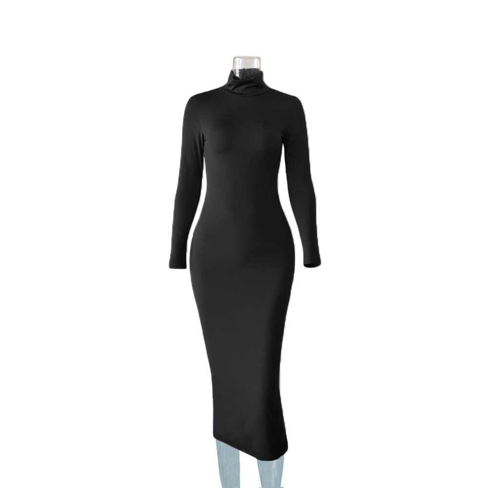 Automne hiver robe longue robe femmes à manches longues col roulé Sexy moulante 2019 rouge noir blanc Club fête robe Midi