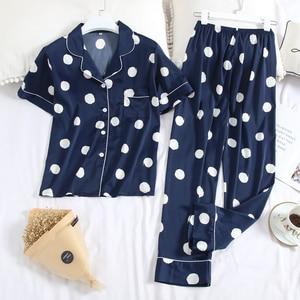 Image 5 - Пижама JULYS SMTWB из искусственного шелка, комплект из 2 предметов, женская пижама в горошек, повседневные длинные штаны с отложным воротником и коротким рукавом, домашняя одежда