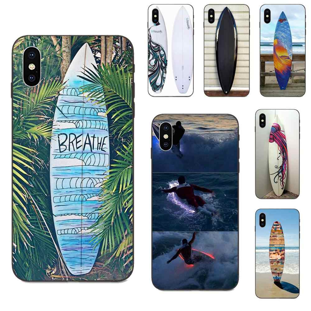 Tablas de Surf de silicona suave de TPU negro, Coque para Apple iPhone 4 4S 5 5S SE 6 6S 7 8 Plus X XS Max XR