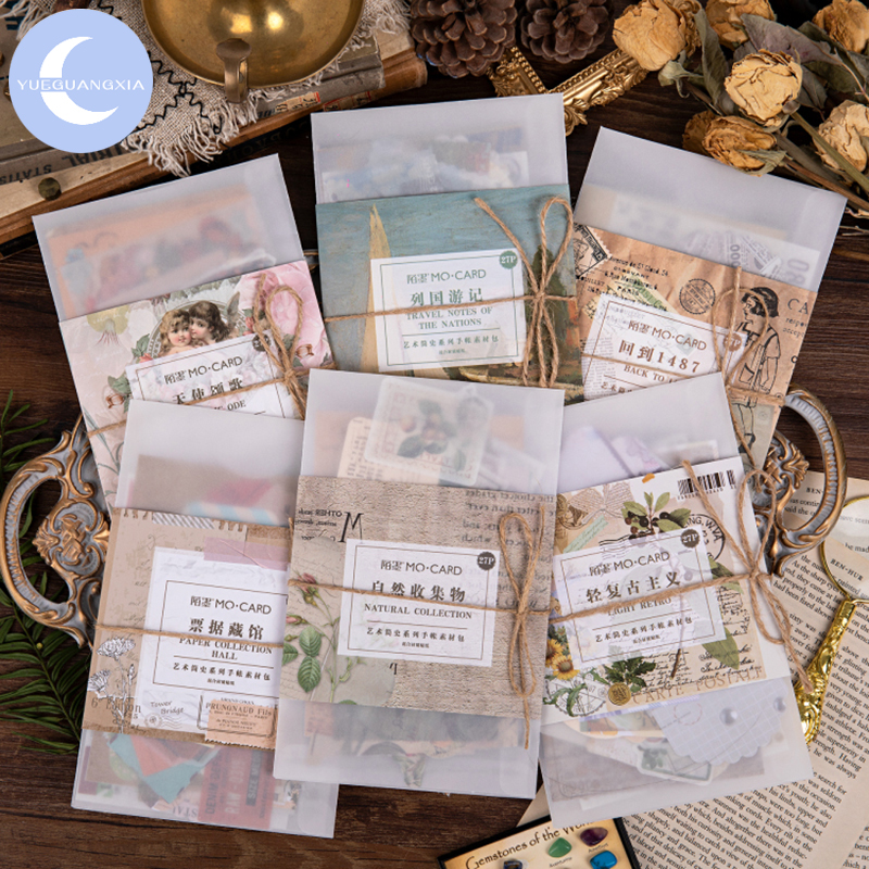 YueGuangXia Vintage Stamp Art History Flower Deco Diary Stickers Scrapbooking Planner Decorative Stationery Stickers 40Pcs/bag