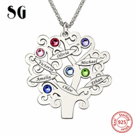 SG 925 sterling silver family necklace for women gifts personalise Custom Birthstone and carved name tree of Life necklace gifts