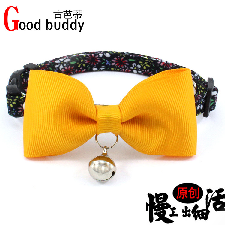 Ribbon Bow Cat Neck Ring Copper Bell Small And Medium-sized Dogs Dog Bo Dai Safety Buckle Pet Collar