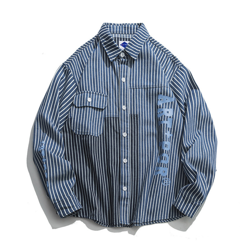 0902 Spring Striped Denim Shirt Men Loose Long Sleeve Vintage Loose Japanese Streetwear Spliced Color Hip Hop Shirt Men Fashion in Casual Shirts from Men 39 s Clothing