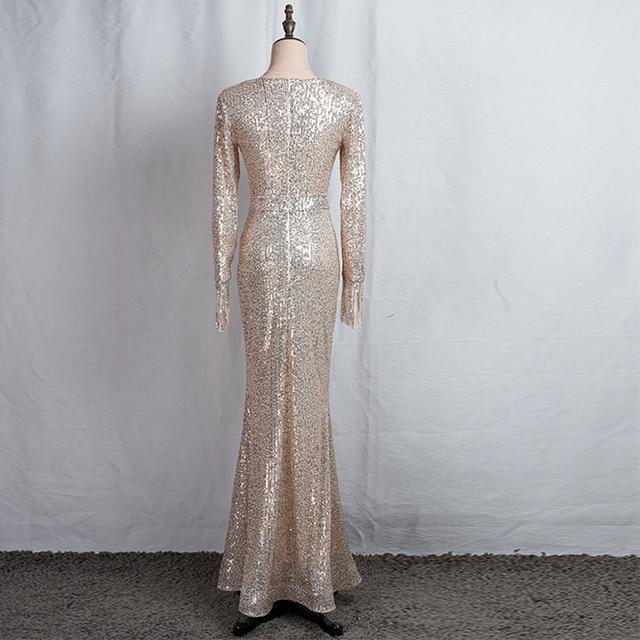 Long Sleeves Evening Gowns Champagne Gold V-neck Split Formal Dress K059 Long Mermaid Robe De Soiree 2020 Sequins Evening Dress 2