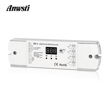 цены DMX512 Decoder 4CH 5A PWM CV RDM DMX 512 Decoder 12V 24V DC Single Color CT RGB RGBW LED Strip Controller 4 in 1 Driver D4-L