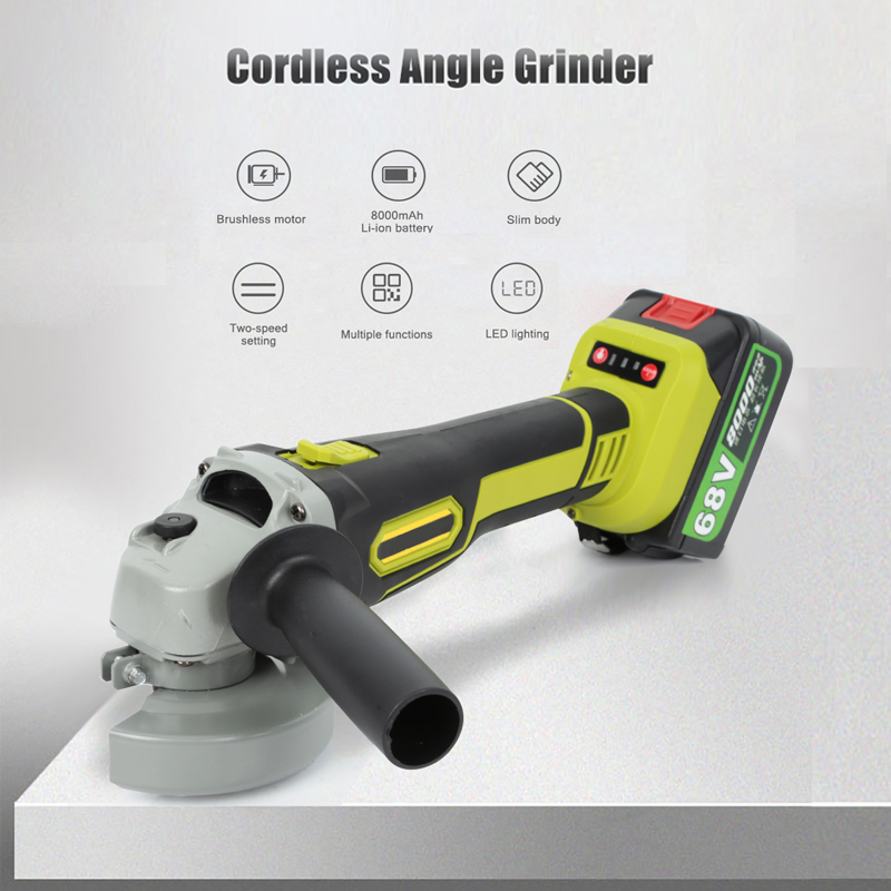 68VF 10000rpm Cordless Angle Grinder Brushless Polisher Grinding Metal Cutter 8000mAh Li-ion Battery Rechargeable Power Tool