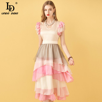 цена на LD LINDA DELLA Summer Runway V-neck Ruffle Boho Women Dress Multicolor Patchwork Slim Big swing Beach Vacation Ladies Midi Dress