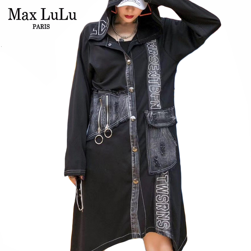 Max LuLu Fashion Korean Style Ladies Punk Autumn Clothes Womens Denim Oversized   Trench   Coats Vintage Hooded Printed Windbreakers