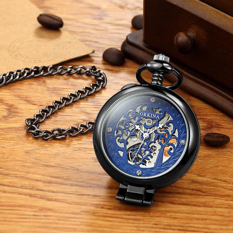 Retro automático Reloj de bolsillo mecánico de oro plata negro hueco esqueleto FOB cadena cuerda manual de acero completo para hombres y mujeres